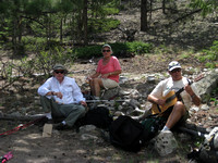 Bill and Cathy and Wes. Song and relaxation along Chalk Creek (Colorado Trail) hike